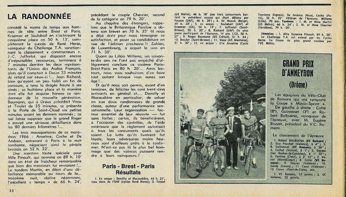 1966 la randonn e for Miroir du ciclisme